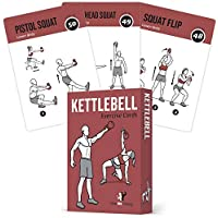 """Exercise Cards Kettlebell - Home Gym Workouts HIIT Strength Training Build Muscle Total Body Fitness Guide Training Routines Bodybuilding Personal Learn KB Moves 3.5""""x5"""" Cards Burn Fat"""