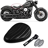 Synthetic Leather Motorcycle Solo Seat with 2 Springs and 1 Mount Bracket for Bobber Custom Terisass Motorbike Solo Seat