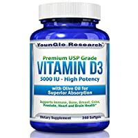 Vitamin D3 5000 IU - in Non GMO Olive Oil - Powerful Health Benefits - 360 Softgels (1 Pack)