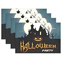 YUEND Halloween Party Bat Night Tree Castle Resistant Placemats Table Mats Heat Durable 1PC Sweet for Dinning Table Kitchen Home Non Slip