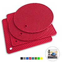 Q's INN Red Silicone Trivet Mats | Hot Pot Holders | Drying Mat. Our potholders Kitchen Tool is Heat Resistant to 440°F, Non-slip,durable, flexible easy to wash and dry and Contains 4 pcs.