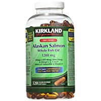 Kirkland Signature 100% Wild Alaskan Salmon Oil 90 EPA 110 DHA 1200mg - 320 Enteric Coated Softgels