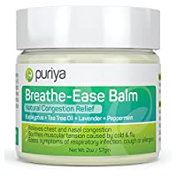 Puriya Chest Rub. Instant Relief from Cold and Flu When You Rub This Aromatic Blend of Peppermint, Eucalyptus, Tea Tree, Lavender on Chest or Under The Nose. Plant-Based. Safe for Children and Adults