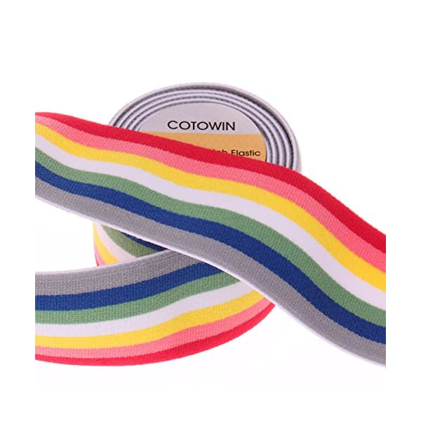 Supers 2-inch Elastic Band Rainbow Pattern Waistband Colorful Stretchy Sewing Elastic Trimming 3 Yards
