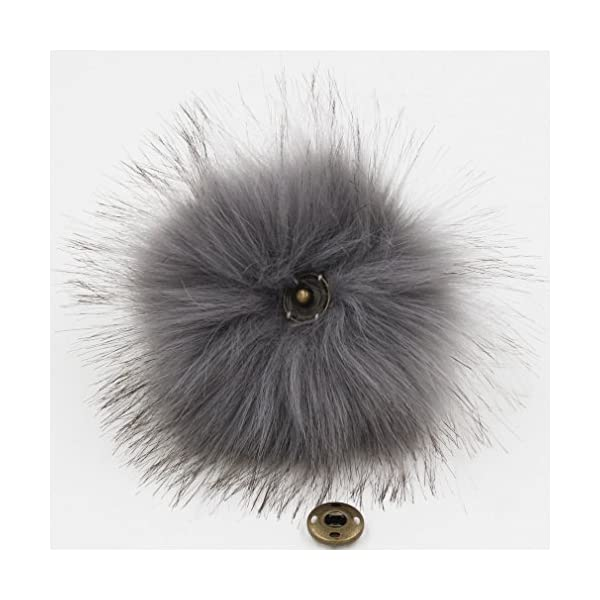 Popular Mix Colors Bememo 14 Pieces Faux Fox Fur Pom Pom Ball Hat Faux Fur Pompom with Removable Press Button for Knitting Hat Accessories