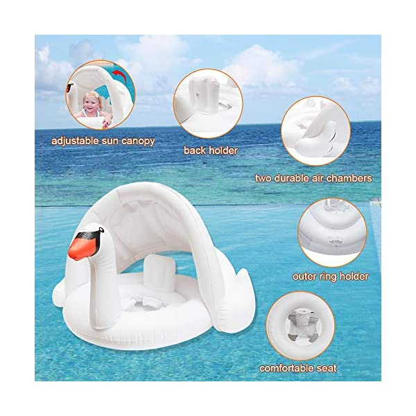 Jie-channel Baby Swimming Pool Float for Summer Outdoor Beach Swimming Pool Party for Age of 3-48 Months Leakproof Safety Approved Inflatable Baby Swimming Ring with Canopy