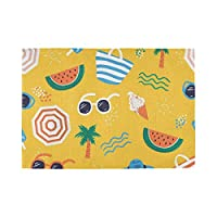 YUEND Happy Resistant Placemats Heat Durable 1PC Table Mats Sea Beach Ice Cream Coconut Tree Watermelon Non Slip Kitchen Home for Dinning Table