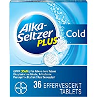 Alka-Seltzer Plus Cold Medicine, Sparkling Original Effervescent Tablets with Pain Reliever/Fever Reducer, Sparkling Original, 36 Count