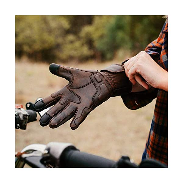 Black Pre-Weathered Premium Leather Motorcycle Gloves Comfortable Riding Protection Cool Full Gauntlet with Mobile Touch Screen Cafe Racer XX-Large