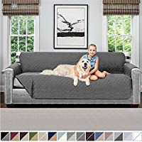 Sofa Shield Original Patent Pending Reversible X-Large Oversized Sofa Protector for Seat Width up to 78 Inch, Furniture Slipcover, 2 Inch Strap, Couch Slip Cover Throw for Dogs, Pets, Sofa, Charcoal