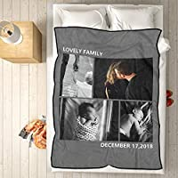 VEELU Personalized Throw Blanket Super Soft for Baby & Adult Custom Collage Fleece Blanket with My Own Photos Names Pictures Birthday Wedding Gift 60