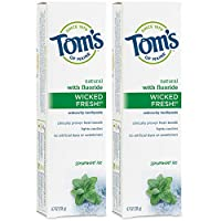 Tom's of Maine Ice Wicked Fresh, Paste, Natural Toothpaste, Toms Toothpaste, Spearmint, 4.7 Ounce, 2 Pack