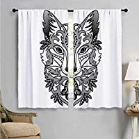 SUZM Thermal Insulating Blackout Curtain, Ornamental Fox Face Curves, Patterned Drape for Glass Door W72 x L45 Inch
