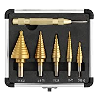 COMOWARE Step Drill Bit Set & Automatic Center Punch- Unibit, Titanium Coated, Double Cutting Blades, High Speed Steel, Short Length Drill Bits Set of 5 pcs, Total 50 Sizes with Aluminum Case