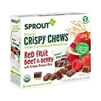 Sprout Organic Crispy Chews Toddler Snacks, Red Fruit Beet & Berry, 0.63 Ounce Single Serve Packets (Box of 5)