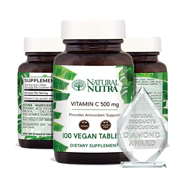 Vitamin C Supplement by Natural Nutra, Ascorbic Acid, Gluten Free Radiant Skin and Face Formula, 500 mg, 100 Tablets