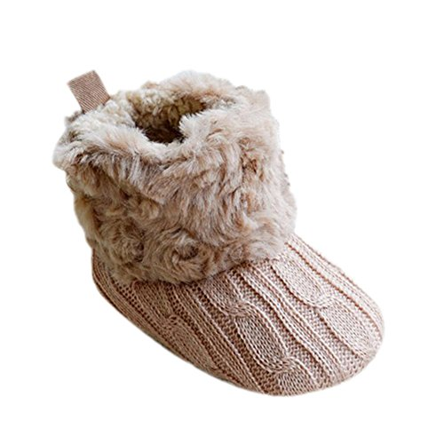 Jinara Newborn Baby Girl Prewalker Cotton Knit with Bowknot Warm Winter Infant Snow Boots Toddler Shoes