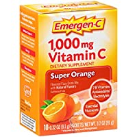 Emergen-C Dietary Supplement with 1000mg Vitamin C (Super Orange Flavor, 10-Count 0.32 oz. Packets, Pack of 3)