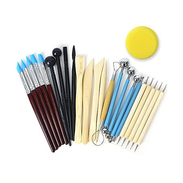 SERONLINE 24pcs Ball Stylus Dotting Tools Polymer Modeling Clay Sculpting Tools Set Rock Painting Kit for Sculpture Pottery