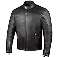 MOTORCYCLE JACKET FOR MEN LEATHER VINTAGE BIKERS DISTRESSED CAFE RACER ARMOR STYLE VENTILATED CE ARMORED GRAY//RED DC-2808A XL