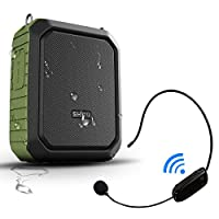 Portable Bluetooth Waterproof Voice Amplifier Wireless Headset Microphone Small Personal Pa Speaker 18W 4400mAh Rechargeable Wearable Mic System for Teachers or Outdoors