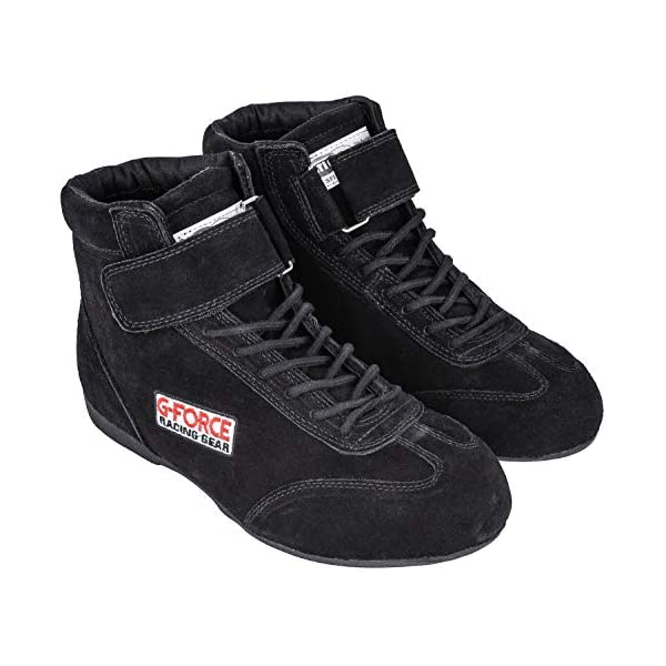 G-Force 0235075BK RaceGrip Black Size-075 Mid-Top Racing Shoes