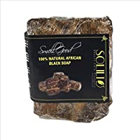 SmellGood - African Black Soap, totally natural, best quality, raw and organic soap, great for body and face wash, imported from Ghana, 8oz bar, 52 Units Set