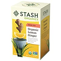 Stash Tea Organic Lemon Ginger Green Tea ,Individual Spiced Green Tea Bags for Use in Teapots Mugs or Teacups, 18 Count, Pack of 6