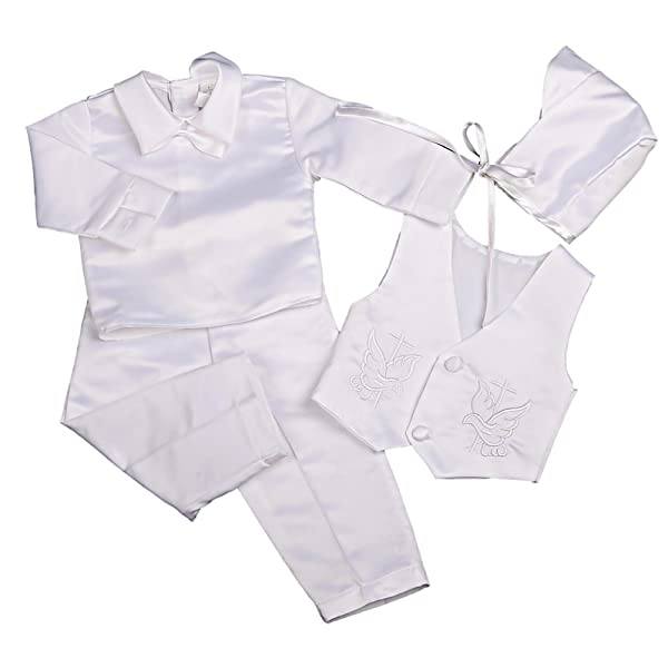 Estamico Baby Boys Satin Christening Baptism Outfits Infant Vest Set with Long Sleeves