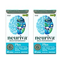 Nootropic Brain Support Supplement - NEURIVA Plus Capsules (30ct bottle) Phosphatidylserine, B6, B12, Folic Acid - Supports Focus, Memory, Learning, Accuracy, Concentration & Reasoning (Pack of 2)
