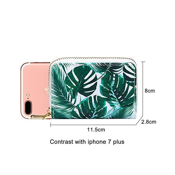 KUKOO Credit Card Holder Case for Women RFID Small Printed Zip Around Card Wallet Multicoloured -14