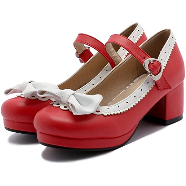 Women Lolita Shoes T-Straps Bows Mary Jane High Heels Girls Casual Buckle Pumps