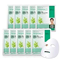 DERMAL Green Tea Collagen Essence Facial Mask Sheet 23g Pack of 10 - Hydrating and Soothing for Sensitive Oily Skin, Revitalize Dull Skin, Daily Skin Treatment Solution Sheet Mask