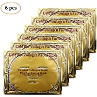Adofect 6PCS 24K Gold Gel Collagen Crystal Facial Masks Sheet Patch For Anti Aging, Whitening, Puffiness, Anti Wrinkle, Moisturizing, Deep Tissue Rejuvenation and Hydrates Skin