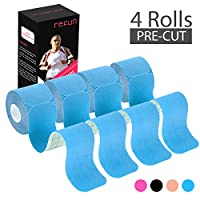 REFUN Kinesiology Tape Precut (4 Rolls Pack), Elastic Therapeutic Sports Tape for Knee Shoulder and Elbow, Pain Relief, Waterproof, Latex Free, 2