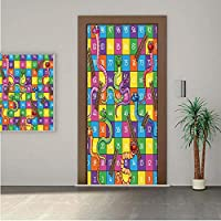 Board Game ONE Piece Door Stickers,Cute Snakes Smiling Faces Numbers in Squares Ladders Childrens Kids Play Print 32x95
