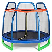 Giantex 7 Ft Kids Trampoline w/Safety Enclosure Net, Spring Pad, Zipper, Heavy Duty Steel Frame, Mini Trampoline for Indoor/Outdoor, Great Gifts for Kids
