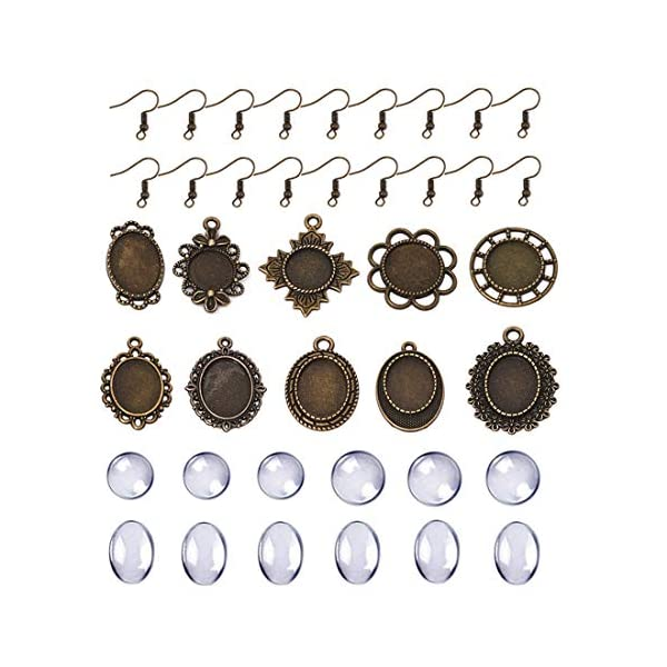 Total 60 Pcs 30 Pcs Mixed Pendant Trays Bezels and 30 Pcs Bright Glass Cabochon Dome Tiles Clear Glass for Crafting DIY Jewelry Gift Making 6 Styles Pendant Trays