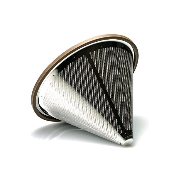 Maximum Flavor Extraction by Bolio Vortex 2 Cuisinart Pour Over Stainless Steel Coffee Cone Shaped Basket Filter Dripper and Cradle Stand used with Popular V60 Filters like Melitta Hario Chemex