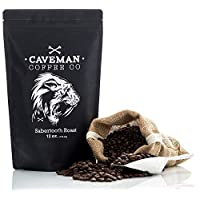 Caveman Coffee Sabertooth, Dark Roast Coffee, Single Origin Blend, Certified Paleo, Swiss Water Process, Keto, Whole Bean, 12 oz