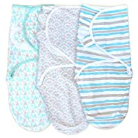 Cambria Baby 100% Organic Cotton Adjustable Infant Swaddle Wrap for Safe and Sound Sleep. Self-Fastening with Wide Pockets for Diaper Changes. in Aqua and Grey. 3 Pack (Size 0-3 Months)