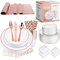 Disposable Plastic Tableware Set   Includes Plates, Cutlery, Table Runner, Napkins, Cups & Paper Straws for Dinner, Party, Bridal Shower, Birthday & Christmas   251 Pieces Rose Gold Fancy Silverware