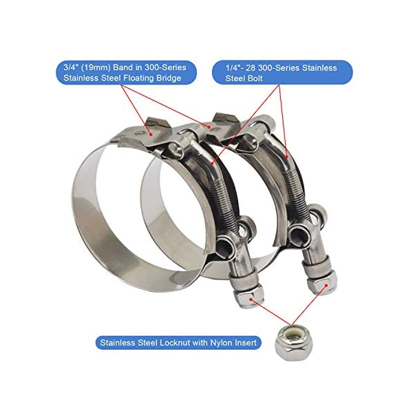 2 Pack Squirrelly 2 Heavy Duty Stainless Steel T-Bolt Clamp for 2 inch Turbo Intake Intercooler Hose