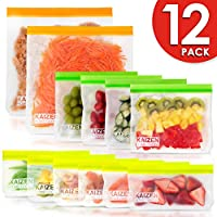 Reusable Storage Bags - 12 Pack BPA Silicone and Plastic Free (2 Reusable Freezer Gallon Bags + 4 Reusable Sandwich Bags + 6 Thick Reusable Snack Bags) Ziplock Kids Lunch Bag for Large Food baggies
