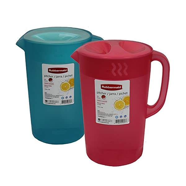 White with Red Cover 3 Pack Rubbermaid Covered Pitcher 2.25 qt