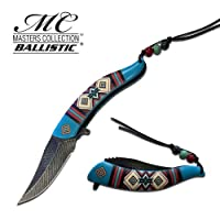 Native American Indian Collection Assisted Knife Blue