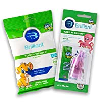 Baby Buddy Wipe-N-Brush & 30 Wipes Stage 3 for Babies/Toddlers, Kids Love Them, Pink