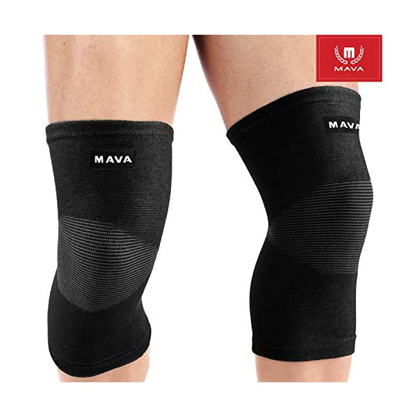 Mava Sports Knee Compression Sleeve Support for Men and Women. Perfect for Joint Pain, Weightlifting, Running, Gym Workout, Squats and Arthritis Relief (Black, Medium)