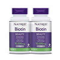 Natrol Biotin Beauty Tablets, Promotes Healthy Hair, Skin and Nails, Helps Support Energy Metabolism, Helps Convert Food Into Energy, Maximum Strength, 10,000mcg, 100 Count (Pack of 2)