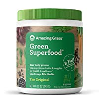 Amazing Grass Green Superfood: Super Greens Powder with Spirulina, Chlorella, Digestive Enzymes & Probiotics, Original, 30 Servings